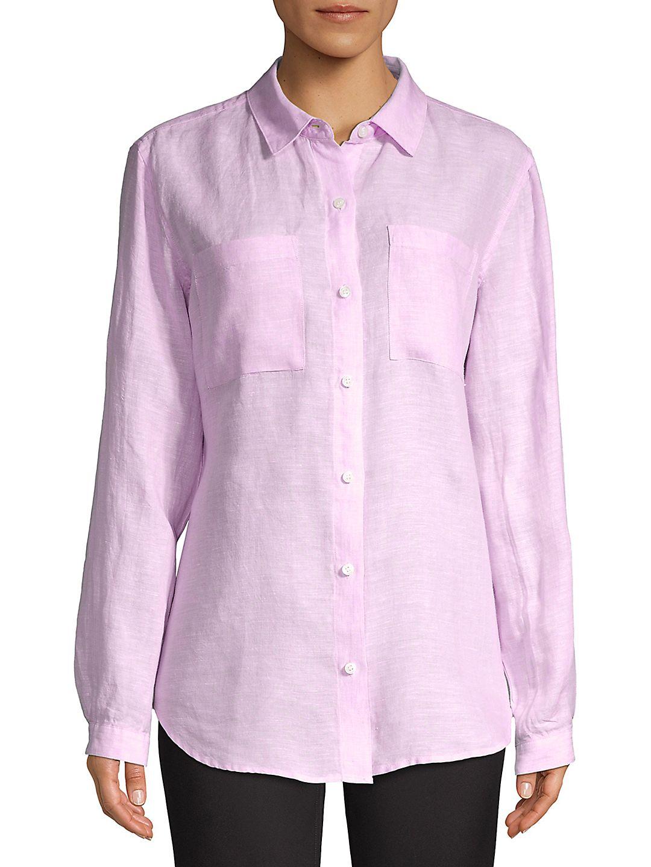 Petite Button Front Linen Shirt