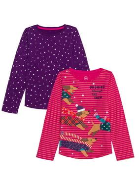 Wonder Nation Holiday Glitter Graphic & Novelty Long Sleeve T-Shirts, 2-Pack (Little Girls, Big Girls & Plus)