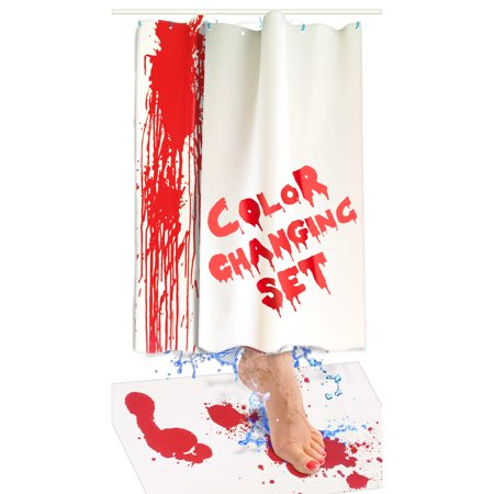 Bloody Bath Mat and Shower Curtain Set – Color Changing Fabric Really Turns Red When Wet, Dries White – Horror Gifts for Her – Includes 27x16IN Floor Mat and 36x72IN (2 Sheets) Bathtub