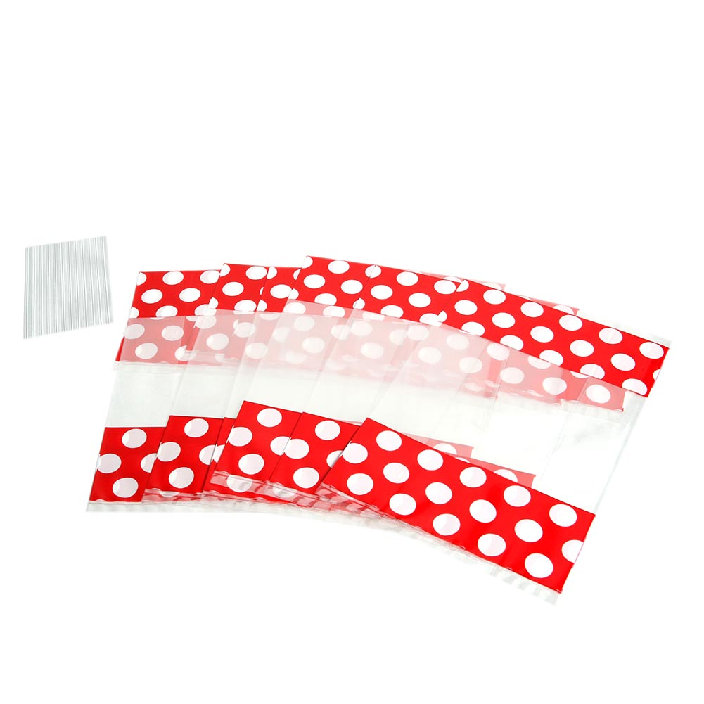 Small Red Window Polka Dot Cellophane Bags