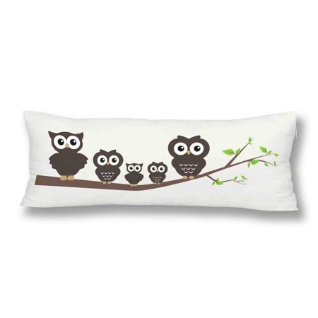 ABPHOTO Sweet Owl Family Tree Branch Body Pillow Covers Pillowcase 20x60 inch Hipster Animal Owl Body Pillow Case Protector ()