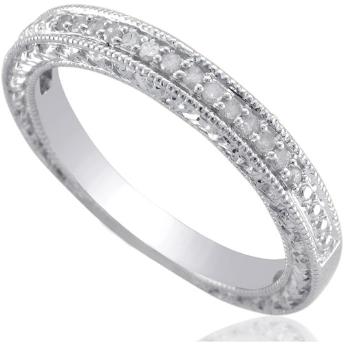 Forever Bride Diamond Accent Sterling Silver Wedding Band Walmartcom