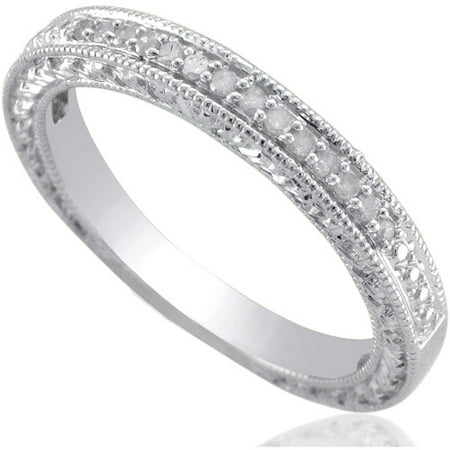 forever bride diamond accent sterling silver wedding band - Silver Wedding Ring