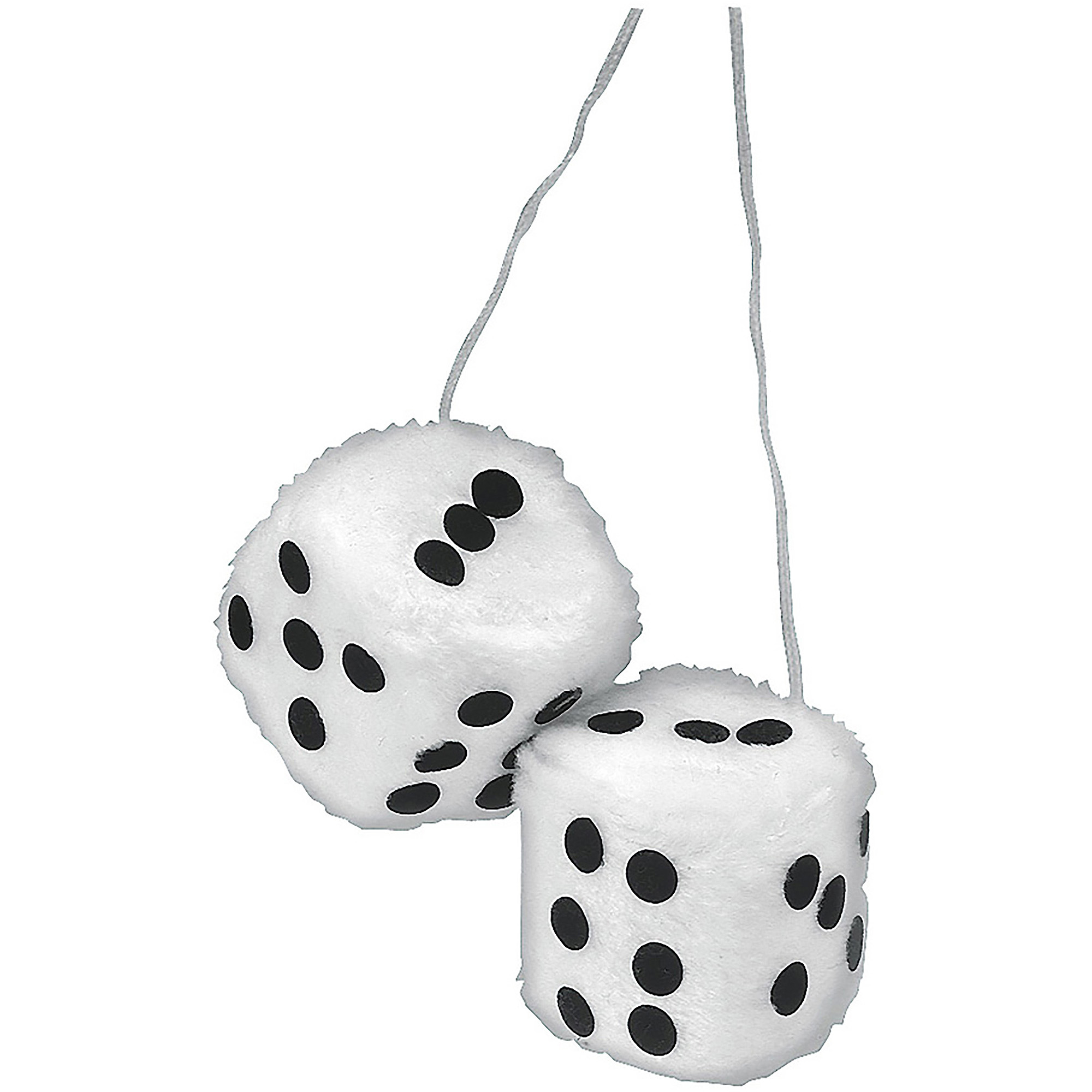 Big Furry Fluffy Jumbo White Car Dice With Black Spots