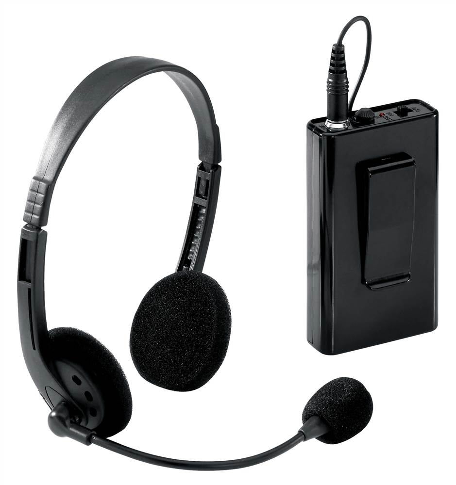 Wireless Mic w Headset & Transmitter in Black