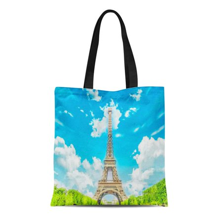 LADDKE Canvas Bag Resuable Tote Grocery Shopping Bags the Eiffel Tower New 7 Wonders of World La Tour Tote (7 Wonders Of The World Tour Package)