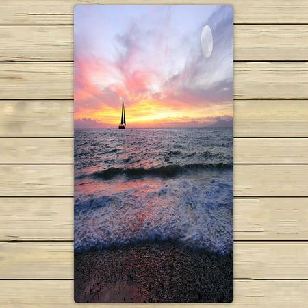 PHFZK Seascape Towel, Sailboat with Burning Sun on the Ocean Horizon against Sky Hand Towel Bath Bathroom Shower Towels Beach Towel 30x56 inches