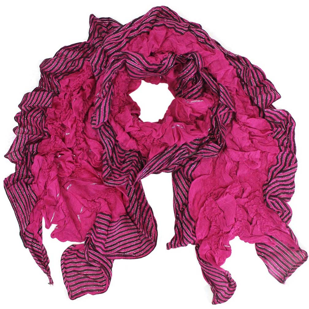 Luxury Divas Ruffled Edge Long Scarf