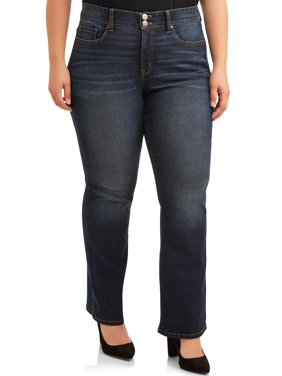 Terra & Sky Plus Size Mid-Rise Repreve Bootcut Jean with Double Button Waist Women's