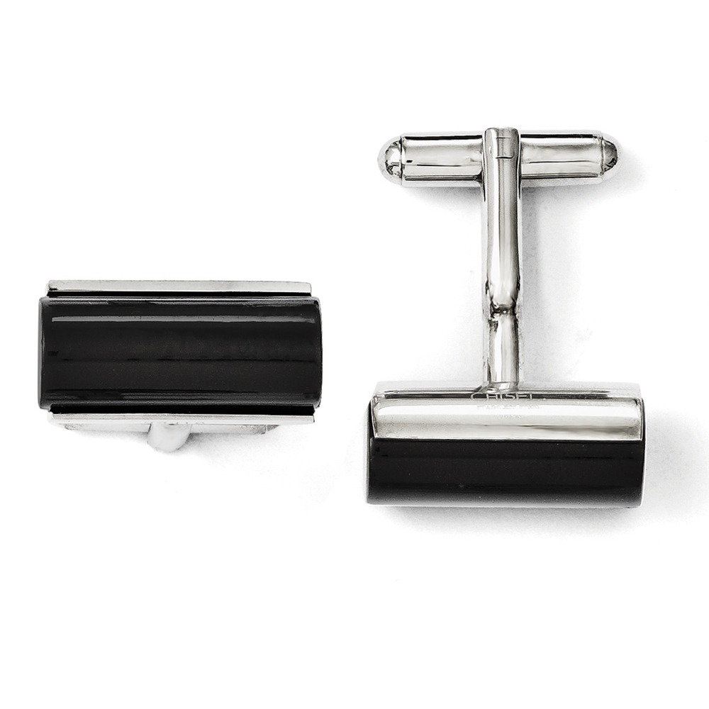 Men's Black Agate and Stainless Steel Cylindrical Cuff Links