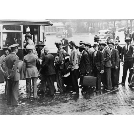 New Deal Ccc Camp Nworld War I Veterans Many In Suits Are Boarding A Bus For Dollar A Day Jobs At A Governments Reforestation Camp At Fort Slocum New York 1940 Rolled Canvas Art     18 X 24