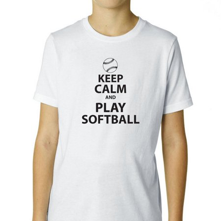 Keep Calm And Play Softball Iconic Graphic Boy's Cotton Youth T-Shirt