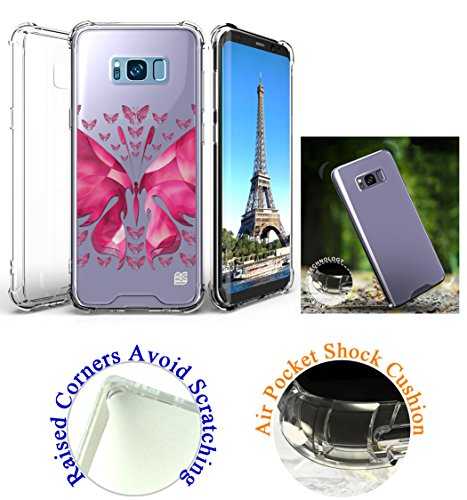 "for 6.2"" Samsung Galaxy S8 + PLUS Case Phone Case Clear Back Raised Corner Lifted Screen & Camera Shock Bumper Slim Cover Butterfly"