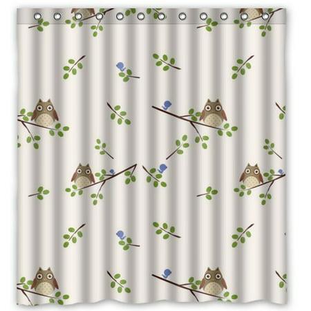 HelloDecor Cartoon Owl Shower Curtain Polyester Fabric Bathroom Decorative Size 66x72 Inches
