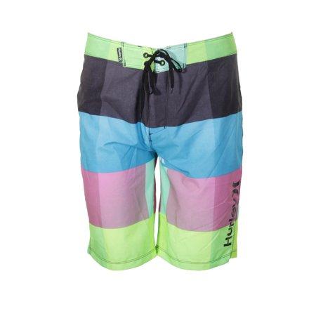 Mens Phantom 60 Block - Hurley Phantom Black Pink Color Blocked Tie Waist Board Shorts   30