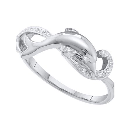 10kt White Gold Womens Round Diamond Dolphin Ring 1/20 Cttw - image 1 of 1