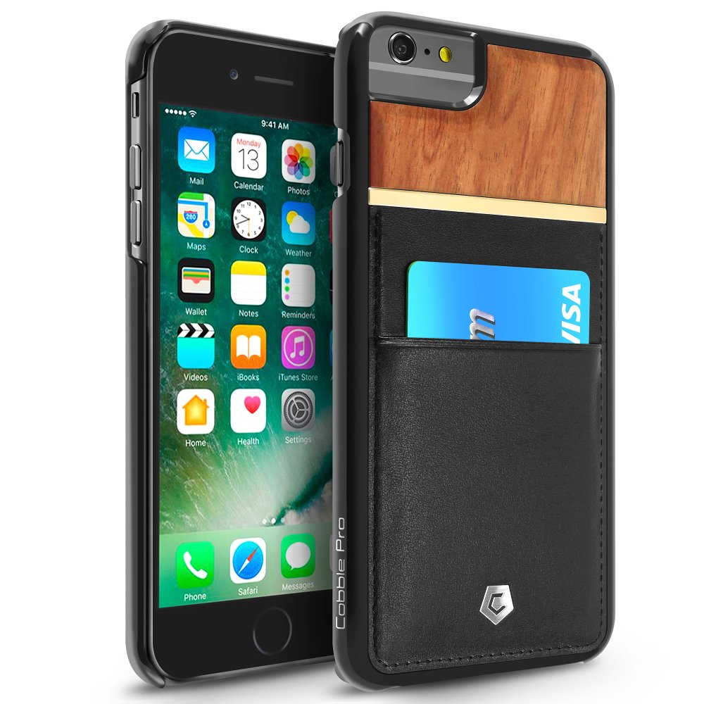 """Cobble Pro Black Rear Slim Genuine Leather Card Wallet Shell Case (Rose Wood Designed) for iPhone 6s / 6 Plus 5.5"""""""