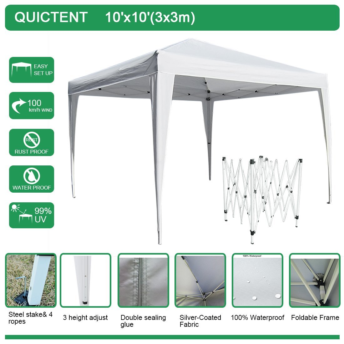 Quictent Easy Pop Up Canopy Instant Canopy Tent 10x10 Feet Heavy duty Height adjustable waterproof White by