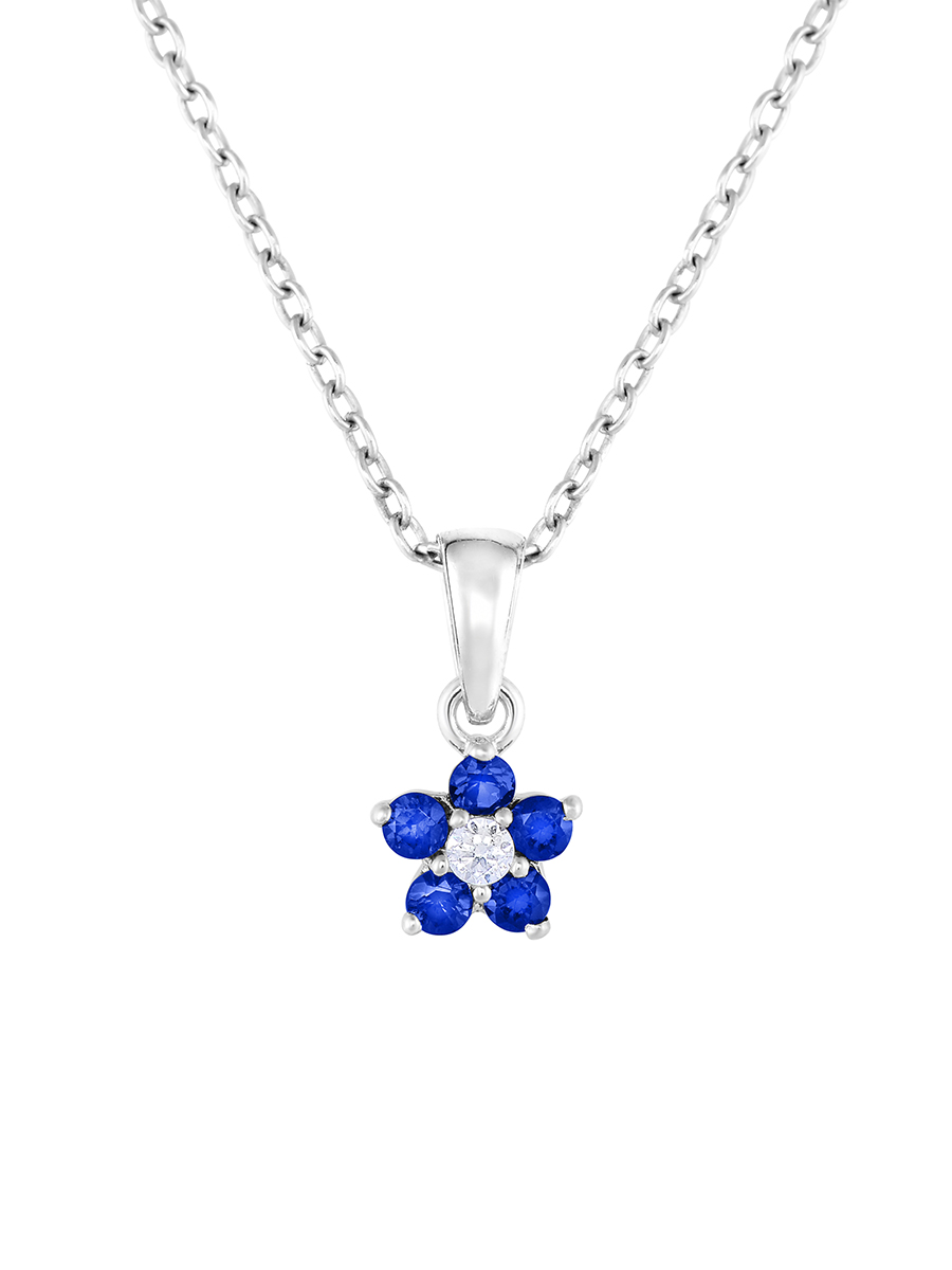 """Flower Pendant Necklace in Sterling Silver with Simulated Birthstone CZ for Girls, 16"""" (September)"""