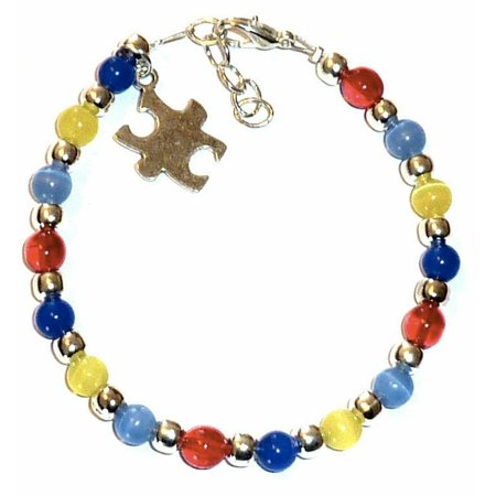 Autism Awareness Bracelet by Hidden Hollow Beads - Beaded Autism Bracelet - Wire Bracelet - 7 3/4 inches - Fits Most Adults - Autism Bracelet