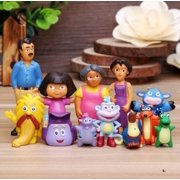12Pcs Play-set for Dora The Explorer Inspired Theme Birthday Party. Dora, Boots, Tico, Troll, Parents, Grandma and More! 4-6cm Figure.