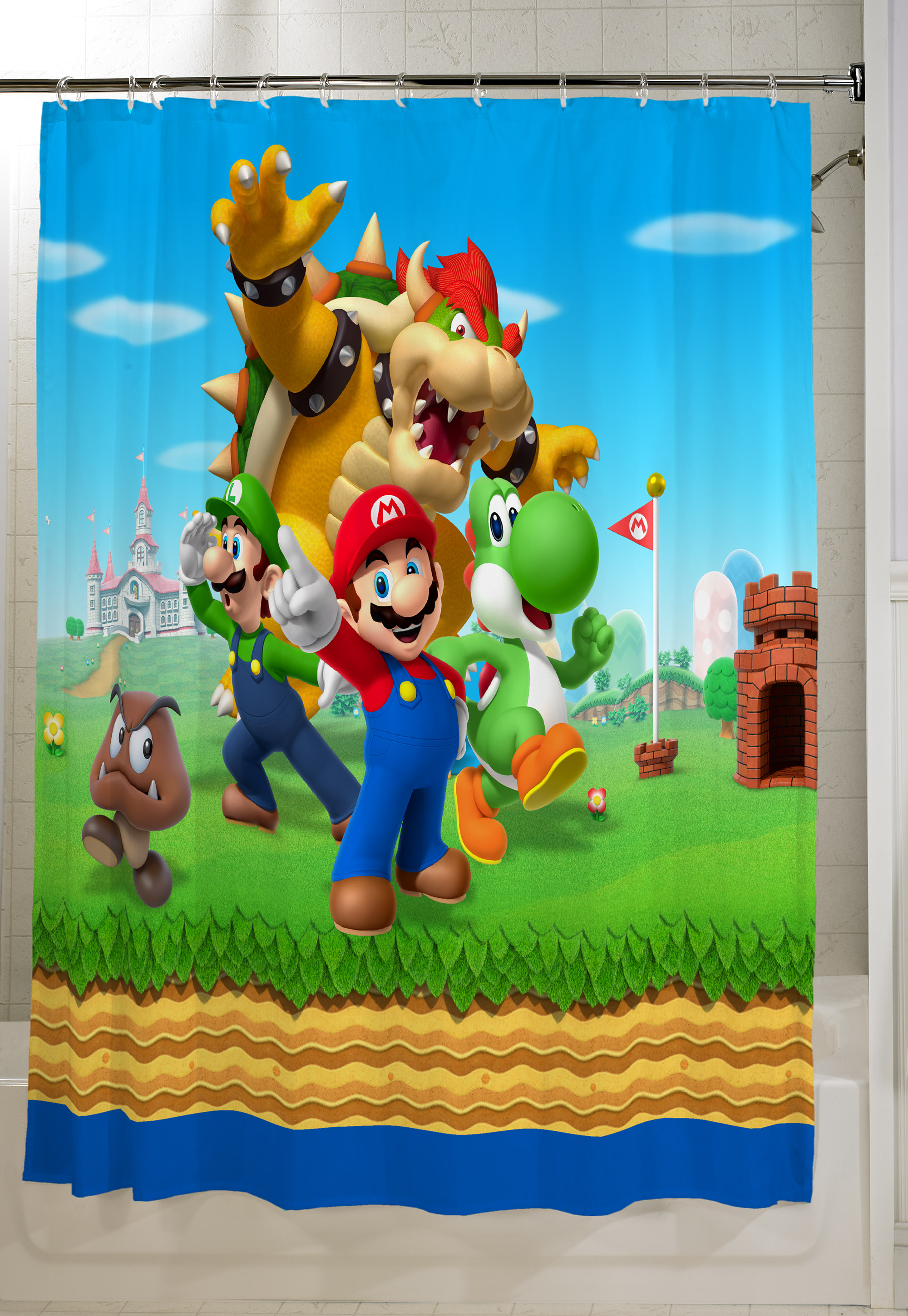 "Super Mario Kids Bathroom Decorative Fabric Shower Curtain, 72"" x 72"""