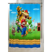 "Super Mario Kids Bathroom Decorative Fabric Shower Curtain, 72"" x 72"