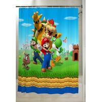 "Super Mario Kids Bathroom Decorative Fabric Shower Curtain, 72"" x 72"