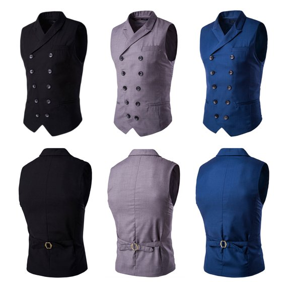 242986cdbab4d DYMADE - DYMADE Men s Double Breasted Slim Fit Suit Vest Step Collar ...