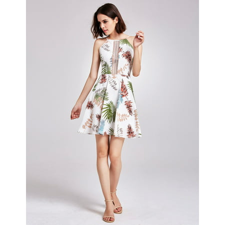 Alisa Pan Women's Sexy Short Lace Cut-out Tropical Print Fit and Flare Summer Holiday Beach Sun Dresses for Women 05937