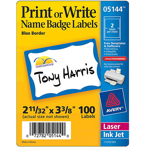 Avery Print or Write Name Badges 5144, Blue Border, 100-Count
