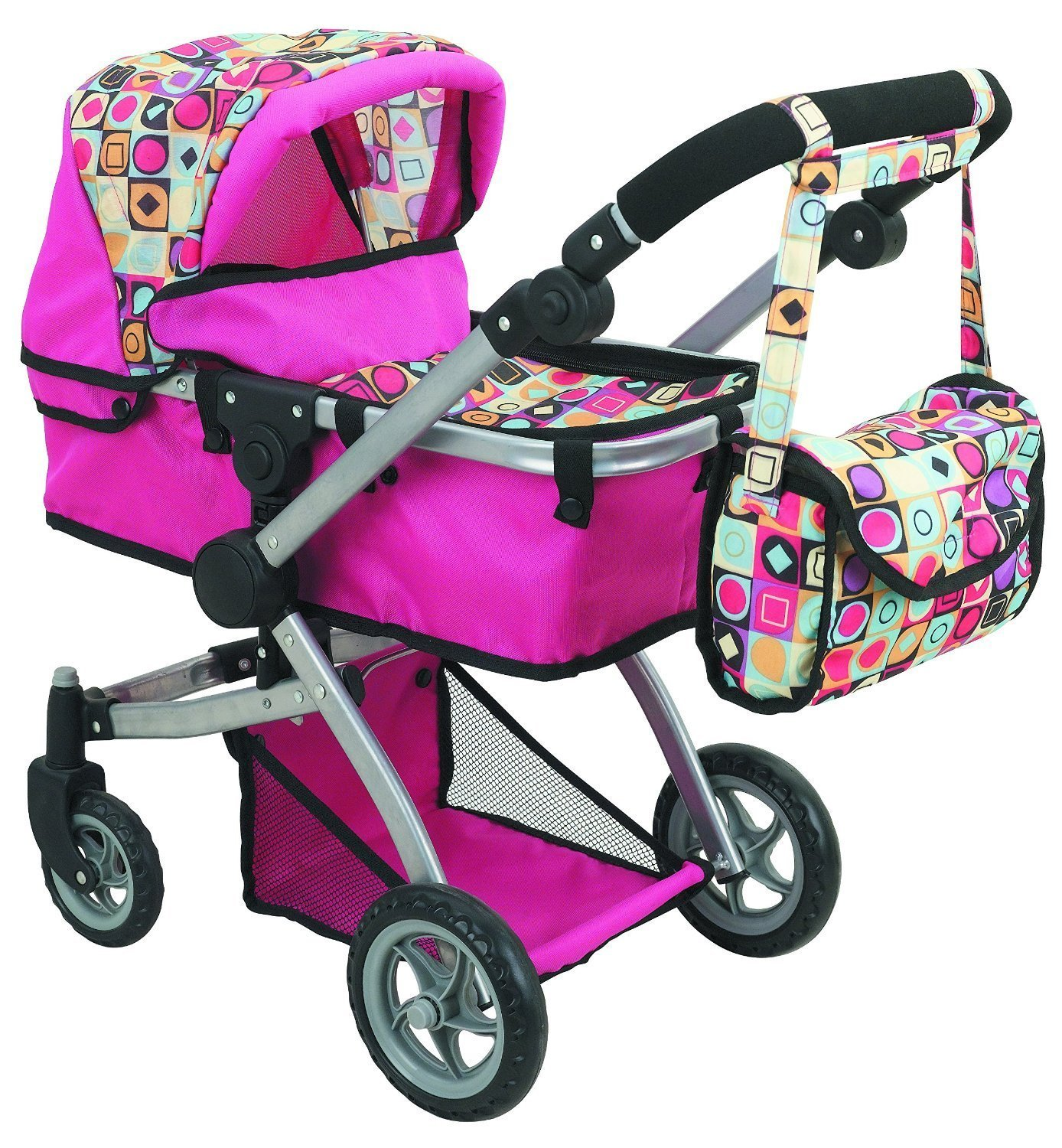 Deluxe Doll Stroller with Swiveling Wheels Adjustable Handle and Carriage Bag Walmart