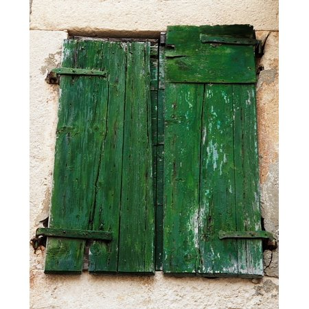 LAMINATED POSTER Wooden Doors Shutters Green Building Window Old Poster Print 24 x 36 ()