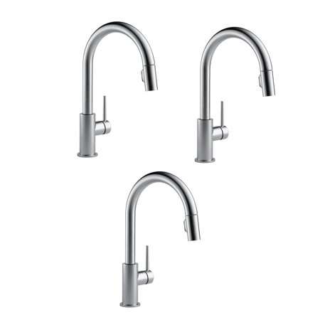 Delta Single Handle Trinsic Kitchen Sink Faucet, Arctic Stainless (3 Pack)