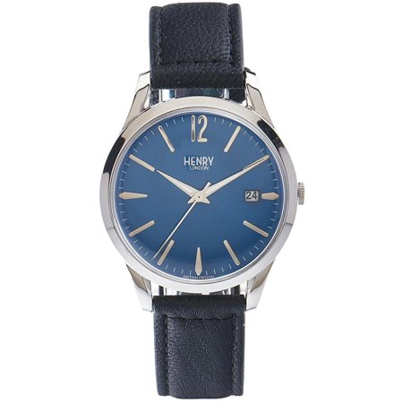 Men's Black Leather Band Steel Case Quartz Blue Dial Analog Watch HL39-S-0031