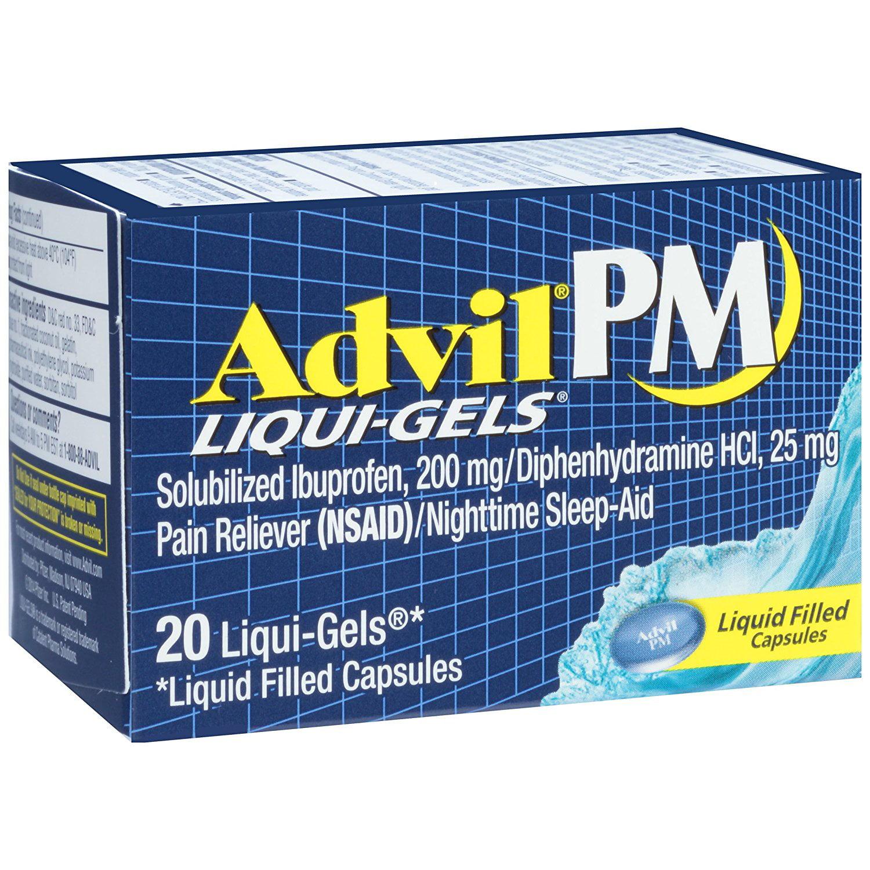 3 Pack Advil PM Liqui-Gels Night Time Pain Reliever 20 Liqui-Gels Each