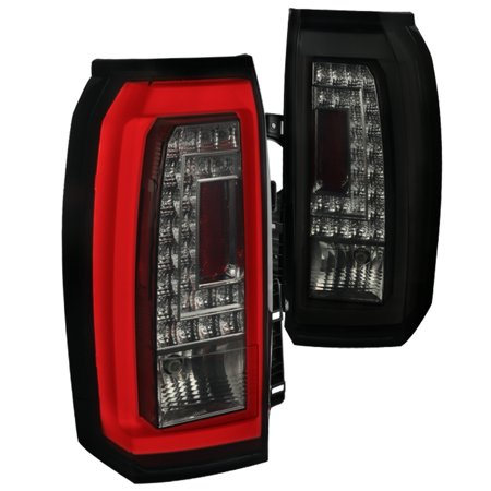 Spec-D Tuning For 2015-2018 Gmc Yukon Xl Led [Glossy Black/Smoke Lens] Tail Rear Brake Lights Pair 2015 2016 2017 2018 (Gmc Jimmy Tail Light Lens)