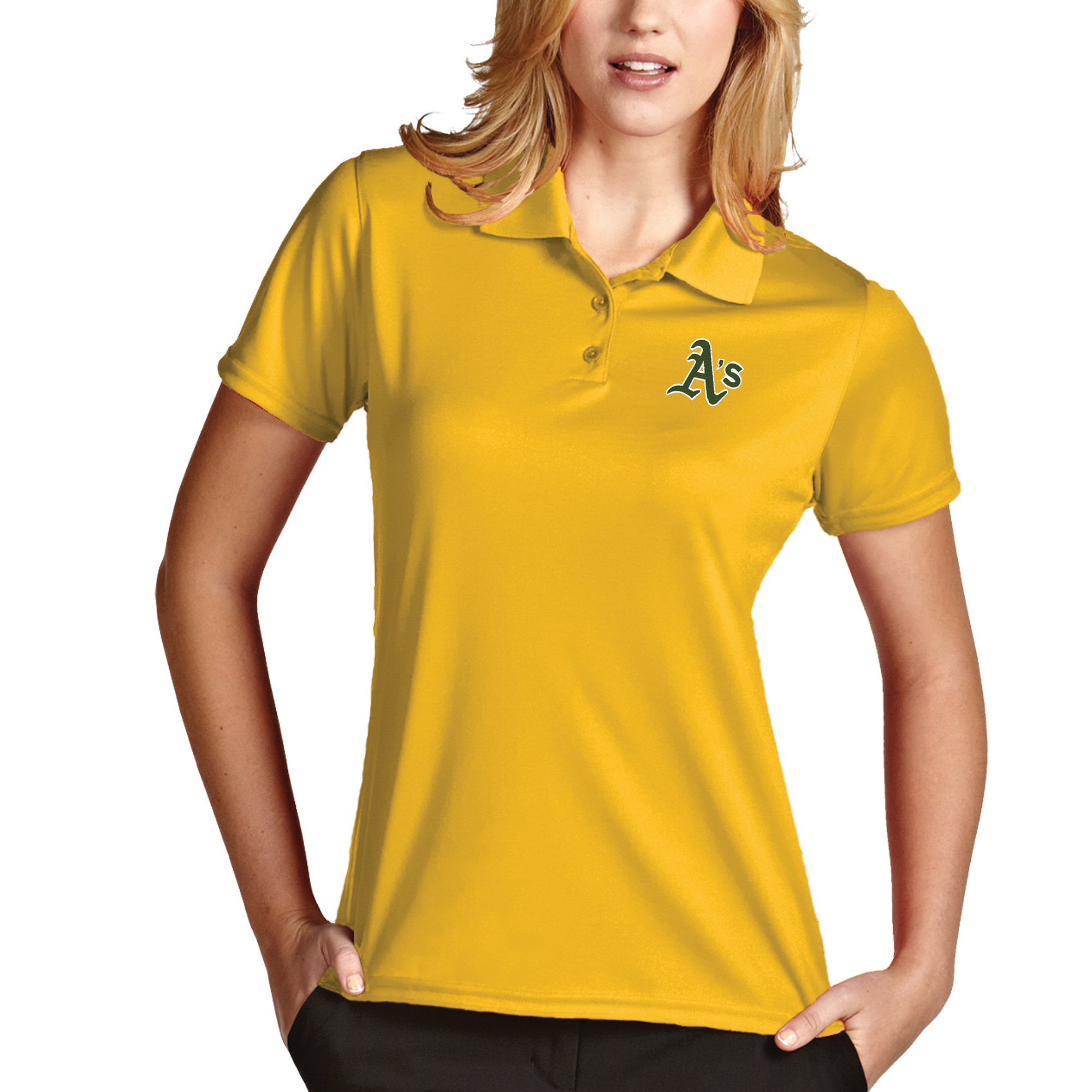 Oakland Athletics Antigua Women's Desert Dry Xtra-Lite Exceed Polo - Gold