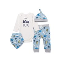 Miniville Baby Boy Bodysuit, Pants and Hat Outfit Set, 4-Piece (0-24 Months)