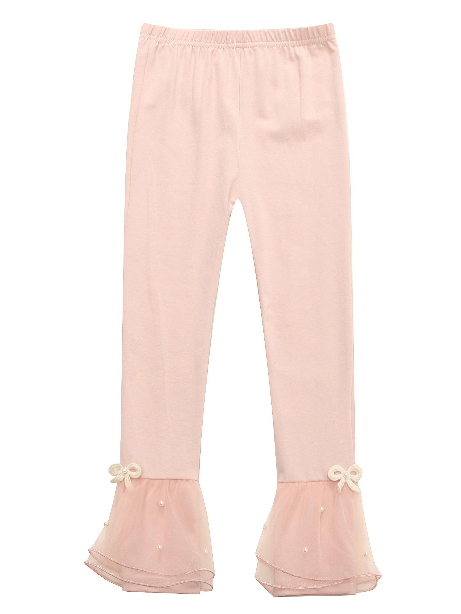 Richie House Little Girls Pink Tiny Bows Ruffled Hem Stretchy Leggings 4/5