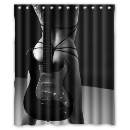 GreenDecor Sexy Girl Guitar Waterproof Shower Curtain Set With Hooks Bathroom Accessories Size 60x72 Inches
