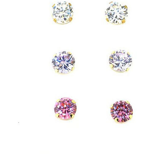 Multi-Color CZ 10kt Yellow Gold Stud Earring Set, 3 Pairs