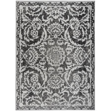 Antep Rugs Kashan King Collection 506 Floral Polypropylene Indoor Area Rug Grey and Black 5