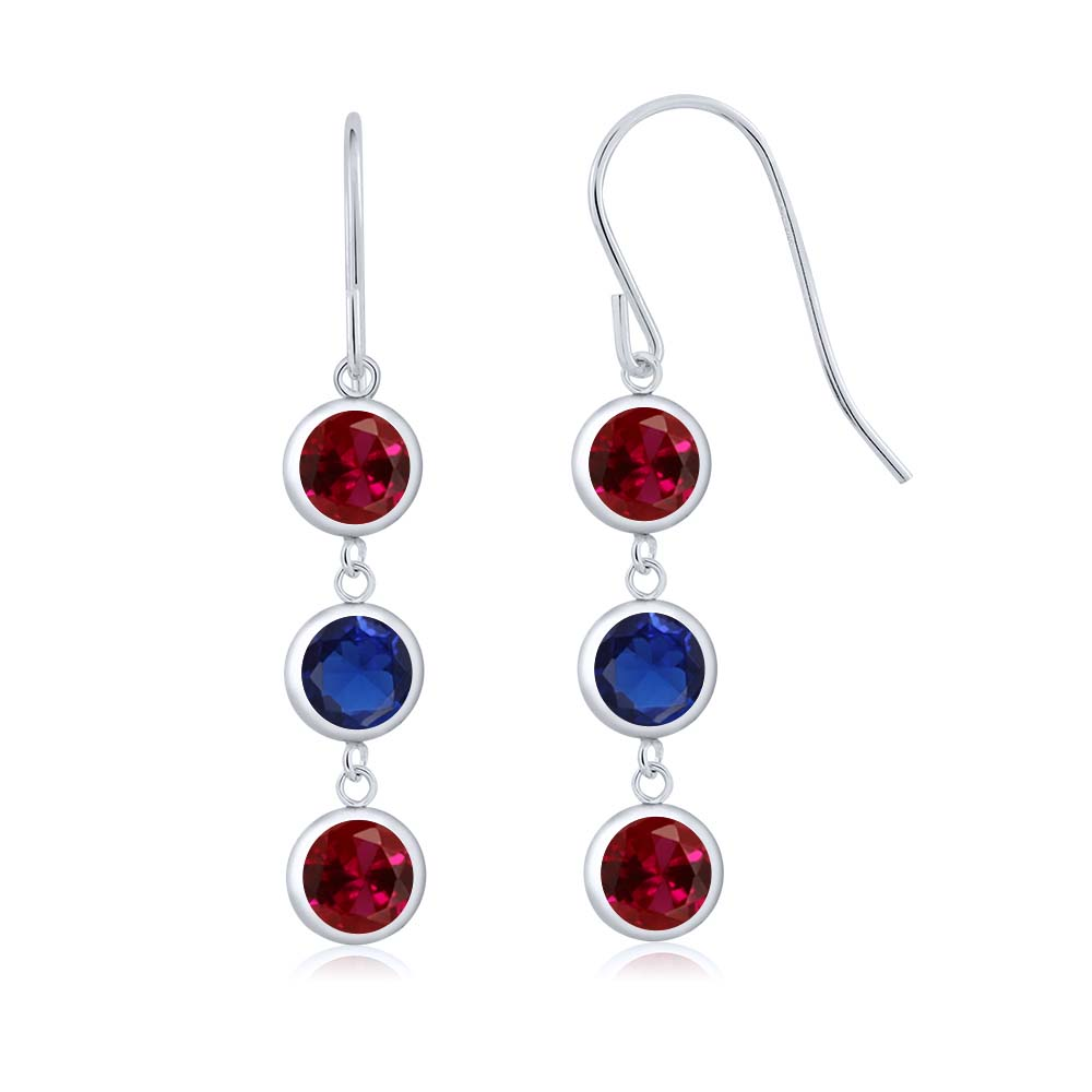 3.60 Ct Red Created Ruby Blue Simulated Sapphire 925 Sterling Silver Earrings