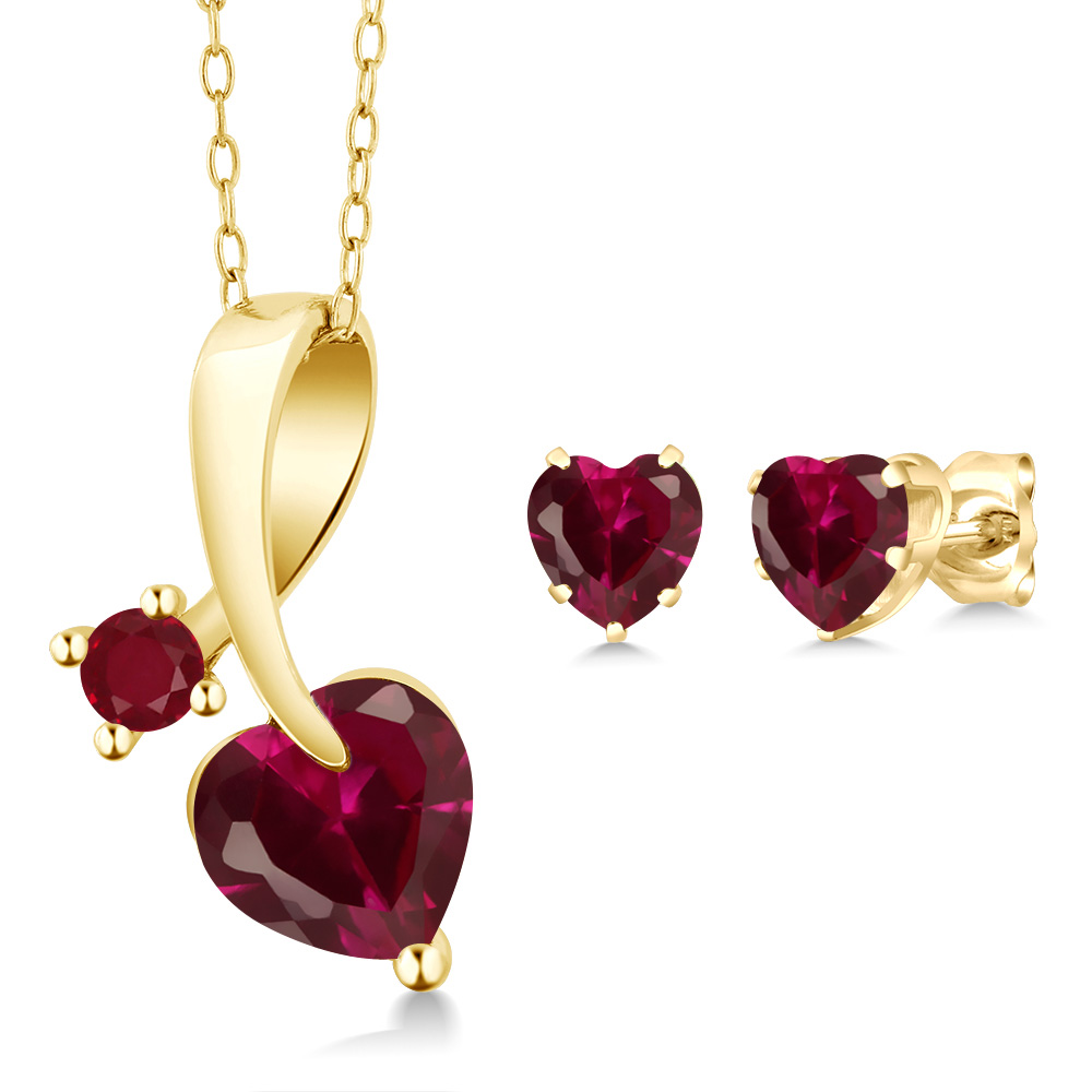 2.74 Ct Heart Shape Red Created Ruby 14K Yellow Gold Pendant Earrings Set by