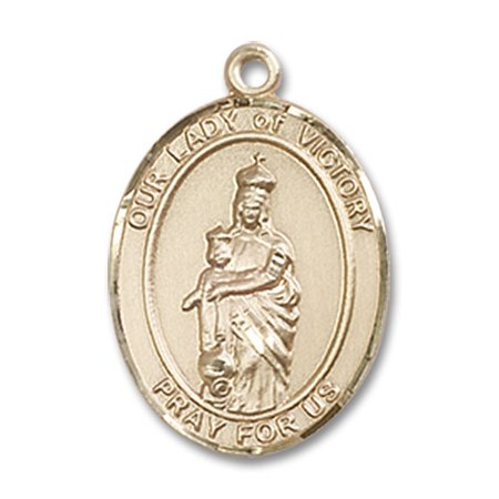 14kt Yellow Gold Our Lady of Victory Medal 3/4 x 1/2 inches