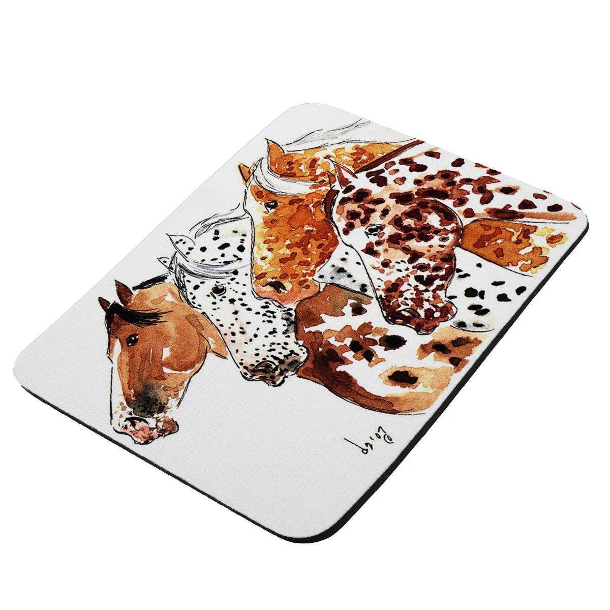 Four Appaloosa Horses Equine Art by Denise Every - KuzmarK Mousepad / Hot Pad / Trivet