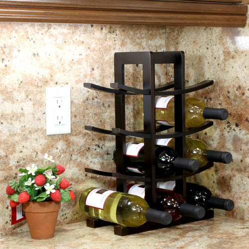 Oceanstar 12-Bottle Dark Espresso Bamboo Wine Rack WR1132 by Oceanstar
