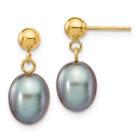 14k Yellow Gold 8mm Grey Rice Freshwater Cultured Pearl Drop Dangle Chandelier Post Stud Earrings Gifts For Women For Her