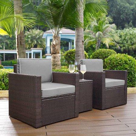 Crosley Furniture KO70055BR-GY Palm Harbor 3-Piece Resin Wicker Outdoor Seating Set - Grad Set
